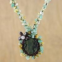 Beaded jasper pendant necklace, 'Homespun Charm' - Crocheted Necklace with Jasper and Quartz Stones
