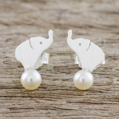 Cultured pearl button earrings, 'Pure Elephants' - Cultured Pearl Elephant Button Earrings from Thailand