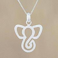 Sterling silver pendant necklace, 'Majestic Profile' - Sterling Silver Elephant-Themed Necklace from Thailand
