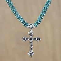 Novica Kyanite pendant necklace, Sacred Mantra
