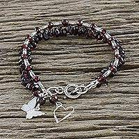 Garnet beaded charm bracelet, 'Double Treasure' - Hill Tribe Silver and Garnet Beaded Bracelet
