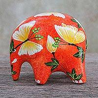 Ceramic figurine, 'Thai Elephant Butterfly' - Artisan Hand Crafted Ceramic Elephant Figurine