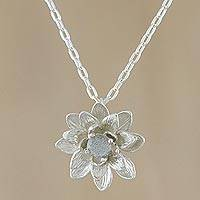 Labradorite pendant necklace, 'Wonderful Water Lily' - Labradorite Flower Pendant Necklace in Sterling Silver