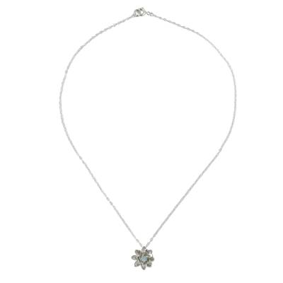 Labradorite pendant necklace, 'Wonderful Water Lily' - Labradorite Flower Pendant Necklace in Sterling Silver
