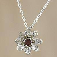 Garnet pendant necklace, 'Wonderful Water Lily' - Flower Pendant Necklace with Faceted Garnet