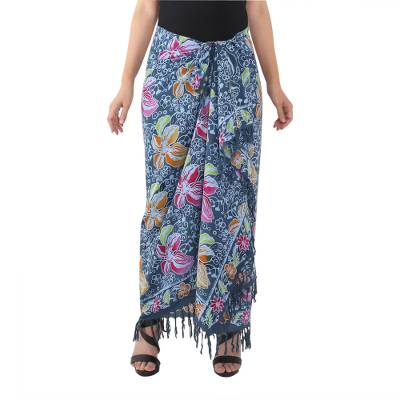 Batik cotton sarong, 'Passion Flowers' - Teal Cotton Batik Sarong with Floral Print