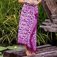 Batik cotton sarong, 'Violet Filigree' - Violet and Magenta Print Batik Cotton Sarong