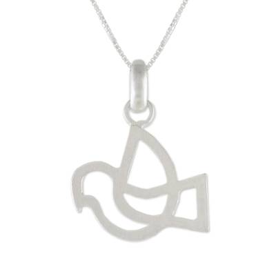 Sterling silver pendant necklace, 'Flying Start' - Dove Sterling Silver Pendant Necklace from Thailand