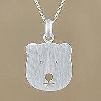 Sterling silver pendant necklace, 'Cute Bear' - Cute Bear Sterling Silver Pendant Necklace from Thailand