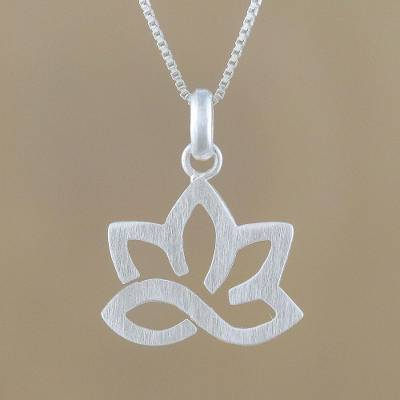Sterling silver pendant necklace, 'Gorgeous Lotus' - Lotus Flower Sterling Silver Pendant Necklace from Thailand