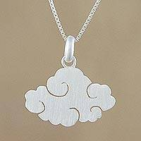 Sterling silver pendant necklace, 'Swirling Cloud' - Cloud-Shaped Sterling Silver Pendant Necklace from Thailand