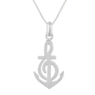 Sterling silver pendant necklace, 'Musical Anchor' - Music-Themed Sterling Silver Pendant Necklace from Thailand
