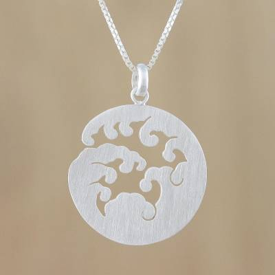 Sterling silver pendant necklace, 'Circle of Waves' - Wave Design Sterling Silver Pendant Necklace from Thailand