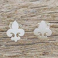 Sterling silver stud earrings, 'Shimmering Fleur-de-Lis'