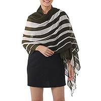 Cotton shawl, 'Cool Stripes in Olive' - Handwoven Striped Cotton Shawl in Olive from Thailand