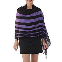Cotton shawl, 'Cool Stripes in Violet' - Handwoven Striped Cotton Shawl in Violet from Thailand