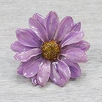 Natural aster brooch pin, 'Let It Bloom in Lilac' - Natural Aster Flower Brooch Pin in Lilac from Thailand