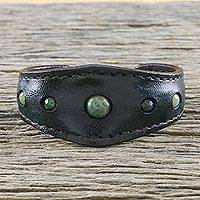 Agate cuff bracelet, 'Green Moss Power' - Green Agate and Leather Cuff Bracelet