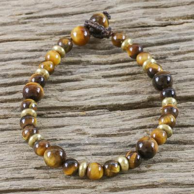 Tiger's eye beaded bracelet, 'Courageous Eye' - Hand Crafted Bead Bracelet of Tiger's Eye and Brass