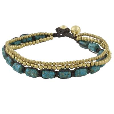 Beaded Bracelet with Brass and Reconstituted Turquoise