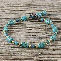 Brass beaded bracelet, 'Andaman Sea Tides' - Blue-Green Beaded Bracelet with Brass Accents