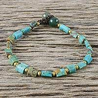 Brass beaded bracelet, 'Close to the Sea' - Handmade Beaded Brass Bracelet from Thailand