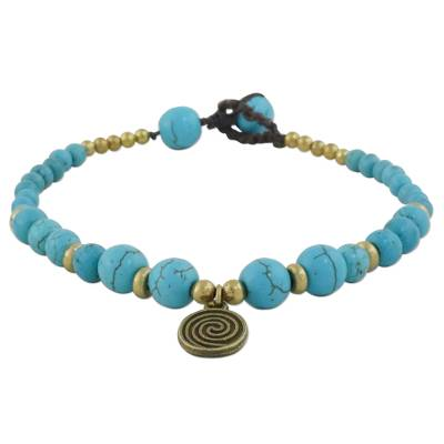 Turquoise Colored Bead Bracelet with Brass Charm
