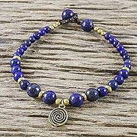 Lapis lazuli beaded bracelet, 'Phuket Waves' - Blue Lapis Lazuli and Brass Beaded Bracelet