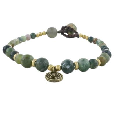 Multicolored Agate and Brass Bracelet with Button Clasp
