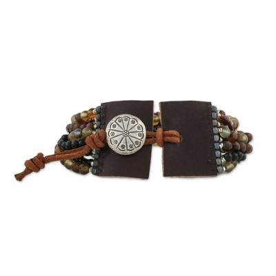 Multi-gemstone beaded bracelet, 'Exotic Hill Tribe' - Leather Accent Multi-Gemstone Beaded Bracelet from Thailand