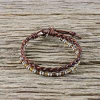 Agate beaded wristband bracelet, 'Karen Lover' - Agate and Silver Beaded Wristband Bracelet from Thailand