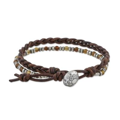 Agate beaded wristband bracelet, 'Karen Lover' - Agate and Silver Beaded Wristband Bracelet from Thailand