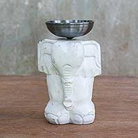 Wood tealight candle holder, 'Elegant Elephant' - Whitewashed Wood Elephant Tealight Candle Holder