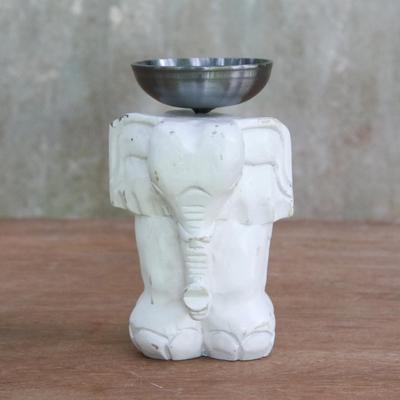Whitewashed Wood Elephant Tealight Candle Holder Elegant Elephant
