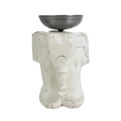 Whitewashed Wood Elephant Tealight Candle Holder