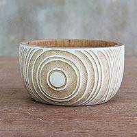 Wood decorative bowl, 'On Target' - Hand Carved Mango Wood Bowl with White Circle Motif
