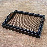 Wood nesting trays, 'Lanna Luxury' (pair) - Mango wood and Rattan Trays in Dark Brown (Pair)