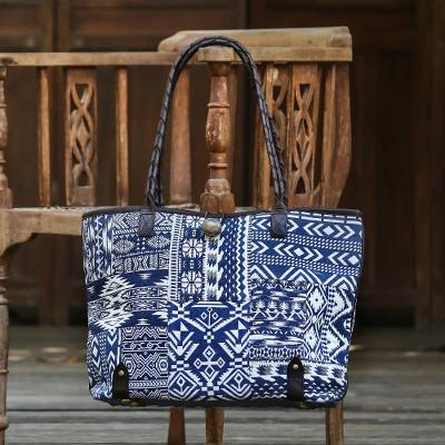 Leather accent cotton blend shoulder bag, 'Ultramarine Geometry' - Deep Blue and White Patchwork Shoulder Bag