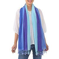 Cotton scarf, 'Seaside Breeze' - Handwoven Striped Cotton Wrap Scarf in Blue from Thailand