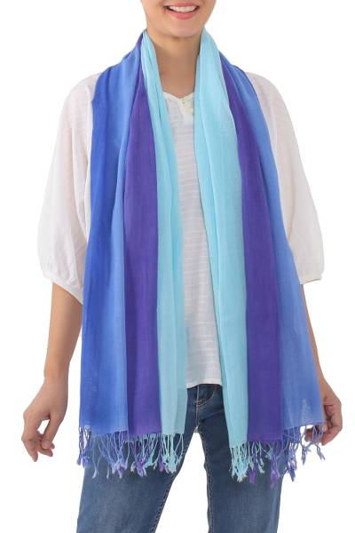 Cotton scarves, 'Seaside Breeze' (pair) - Striped Cotton Wrap Scarves in Blue from Thailand (Pair)