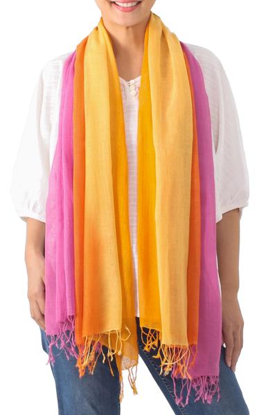 Cotton scarves, 'Sunrise Breeze' (pair) - Handwoven Bright Striped Cotton Wrap Scarves (Pair)