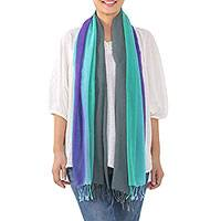 Cotton scarf, 'Meadow Breeze' - Handwoven Fringed Striped Cotton Wrap Scarf from Thailand