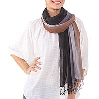 Cotton scarf, 'Mountainside Breeze' - Fringed Striped Cotton Scarf in Brown and Grey from Thailand