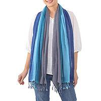 Cotton scarf, 'Riverside Breeze' - Handwoven Fringed Striped Blue Cotton Scarf from Thailand