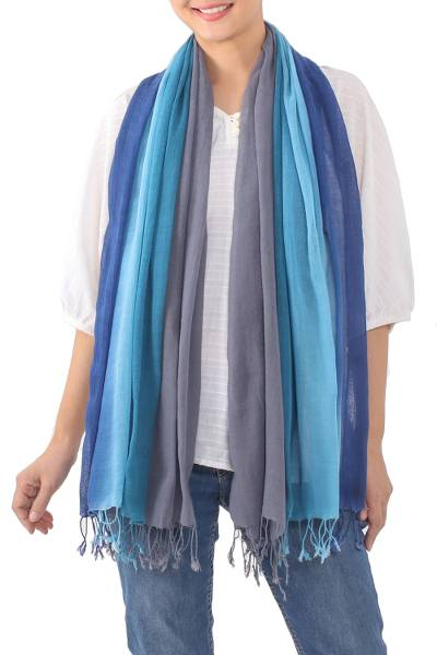 Cotton scarves, 'Riverside Breeze' (pair) - Handwoven Fringed Blue Cotton Scarves from Thailand (Pair)