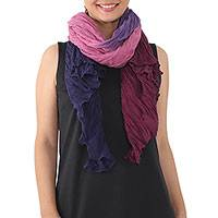 Cotton shawl, 'Calm Day' - Cotton Shawl in Mulberry and Orchid from Thailand