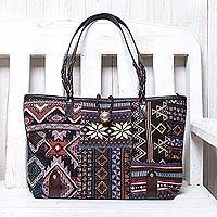 Leather accent cotton blend shoulder bag, 'World of Geometry' - Dark Patchwork Cotton Blend Shoulder Bag from Thailand