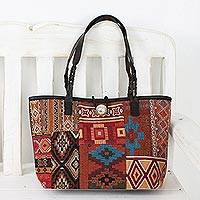 Leather accent cotton blend shoulder bag, 'Desert Geometry' - Multicolor Patchwork Cotton Blend Shoulder Bag from Thailand