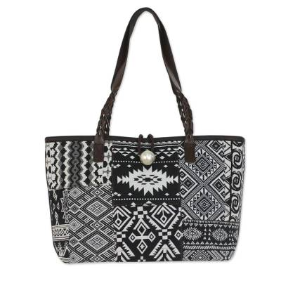 Novica Leather accent cotton blend shoulder bag, Black and White Geometry