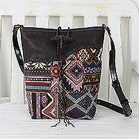 Featured review for Leather accent cotton blend sling bag, Hill Tribe Journey